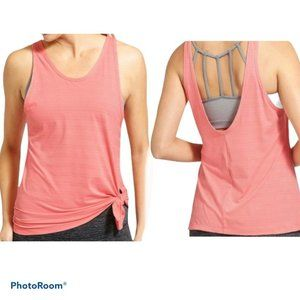 ATHLETA Max Out Side Tie Pink Coral Athletic Top